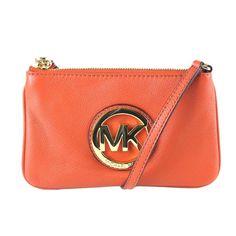 Michael Kors Fulton Leather Wristlet Burnt Orange