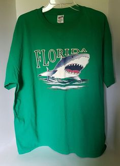 Mens Anvil Green Florida Shark Ocean 100% Cotton T-shirt XL | Clothing, Shoes & Accessories, Men's Clothing, T-Shirts | eBay!