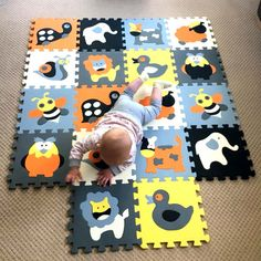 MEIQICOOL Educational Baby play Mat Puzzle mat Environmental Non-toxic Crawling Mat Kids Gym Play Mat Educational – Baby Trend – hot children products Toddler Toys, Baby Toys, Baby Floor Bed, Cartoon Puzzle, Baby Toy Storage, Kids Gym, Play Gym, Patterned Carpet, Babies Rooms