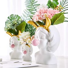 Sculpted into a girl's head blowing bubblegum these quirky and colourful vases make the perfect decoration for your. Flower Vases, Flower Pots, Vase Deco, Winter Fire, Head Planters, Blowing Bubbles, Modern Materials, Green Plants, Creative Decor