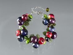 Blueberry Bracelet, glass lampwork sculptures w lobster clasp, adjustable length.  Art glass lampwork beads.  Gift for her.