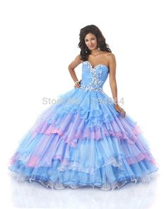 9b374c171f29 Fashion 2015 Multi Color Quinceanera Dresses Beading Organza Ruffles Sweet  16 Dresses for Prom Party Free Shipping BQ39
