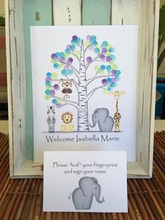 Birch fingerprint tree surrounded by jungle safari animals! this is a print of my original colored pencil drawings and includes an elephant, monkey, giraffe zebra and lion in a neutral, gray birch tree. A fun way to memorialize the guests at a woodland themed baby shower, birthday, wedding or other event! Have guests add their fingerprint and sign their name. FEATURES: * Includes a pop-up note card that reads Please leaf your fingerprint and sign your name * Available in 3 sizes: 8x10…
