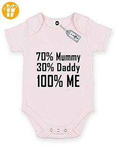 70% Mummy 30% Daddy 100% Me. Short Sleeve Baby Body Strampler. KOSTENLOSE LIEFERUNG IM LIEFERUMFANG ENTHALTEN. Rosa Hellpink (*Partner-Link)