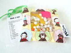 Seek & Find  I SPY toy game pastel Sock by MostlyMonstersCV, $4.95