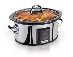 Crock-Pot SCVT650-PS 6-1/2-Quart Programmable Touchscreen Slow Cooker, Stainless Steel Overview    The Crock-Pot SCVT650-PS Programmable Slow Cooker brings modern style to any kitchen with its touchscreen control panel, seamless polished stainless steel exterior and silicone-wrapped handles. The ultimate in slow cooker convenience and style. Set your cook time from 30 minutes to 20 hours.
