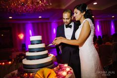 Newlyweds cut into their delicious wedding cake created by @choccarousel. Wedding cakes are included in all of Sterling Ballroom's wedding packages. Photo courtesy provided by Jashim Jalal. http://www.sterlingballroomevents.com/