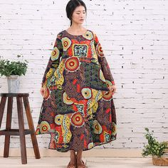 Women Print maxi dress / long dress / cotton linen dress/loose dress/long sleeve dress/plus size clothing/Loose Fitting dress