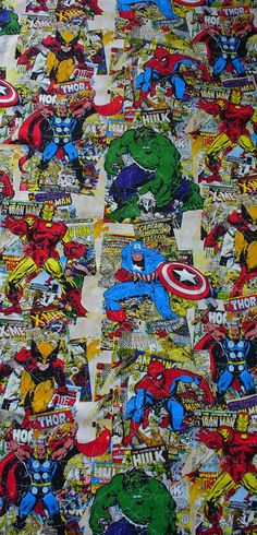 Marvel Comic Book Covers Fabric / 32 by 44 by trinketsintheattic