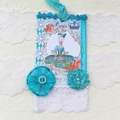 Tag Shabby Chic Gift Bridal Shower Hang Tea Party Marie Antoinette Birthday High Tea Turquoise Green Pearl French Handmade  Australia
