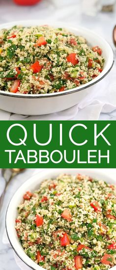 Quick Tabbouleh Recipe - a super simple, fresh and zingy salad of herbs, tomatoes and lemon - perfect for any time of the year. This salad uses a quick cheat to make a super quick tabbouleh salad using couscous. Vegetarian Recipes, Cooking Recipes, Healthy Recipes, Tabouli Salad Recipe, Clean Eating, Healthy Eating, Tabouleh Salat, Couscous Recipes, Salads