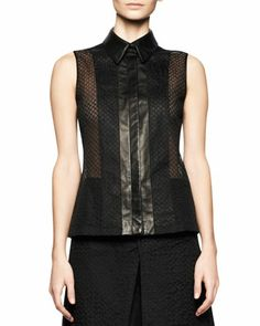 Sleeveless Embroidered Mesh Top with Leather Trim by Reed Krakoff at Bergdorf Goodman.