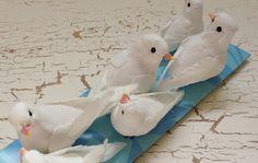 Artificial Birds - SIX Decorative WHITE BIrds- Craft Embellishment - Home Decor, Christmas Decorations