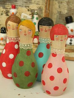 Bowling pin dolls,,,inspiration for gourds