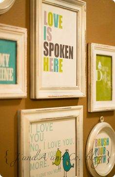 This will be my weekend project!! Buy some frames @ the thrift store- paint them..& check out these amazingly adorable PRINTABLES!!