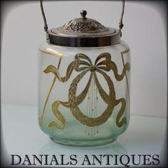 ANTIQUE ART NOUVEAU GOLD GILT PAINTED RIBBON GLASS COOKIE BISCUIT JAR.1900'S.. | eBay