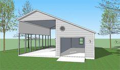 Basic RV shelter with garage. Basic RV shelter with garage. Rv Garage Plans, Boat Garage, Garage Art, Barn Storage, Built In Storage, Storage Ideas, Camping Storage, Storage Hacks, Storage Solutions