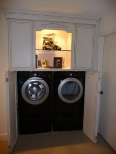 I want to redo our laundry room with these cabinets to hide the washer & dryer...