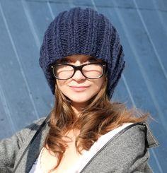 Cobalt Blue Slouchy Beanie Hat / Wool Knit Women by Accessodium