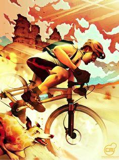 Mountain Biking with a canine buddy - graphic bicycle art of downhill mountain bike racer - more great mountain biking here: https://www.facebook.com/GreatMountainBiking/