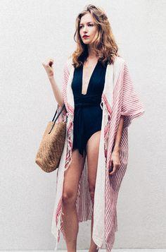Paige in Mes Demoiselles Desert Coverup with Lenny Niemeyer Bathing Suit and Sans Arcidet Bag | shopheist.com