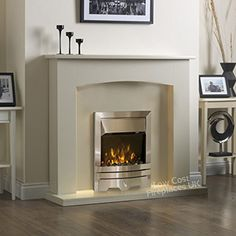 Shop Electric Cream Ivory Silver Flame Fire Modern Wall Surround LED Fireplace Suite Free delivery on eligible orders of or more. Cream Fireplace, Home Fireplace, Fireplace Surrounds, Fireplace Design, Fireplace Ideas, Electric Fire And Surround, White Fire Surround, Painted Fire Surround, Electric Fireplace Suites