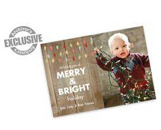 Merry and Bright Woodgrain 4x6 Christmas Photo Card
