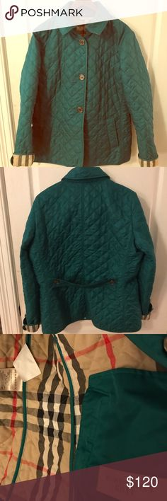 Burberry Brit classic padded jacket Beautiful emerald green classic Burberry Brit jacket. Light weight, great for spring and fall. Burberry Jackets & Coats