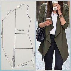 Coat Patterns, Dress Sewing Patterns, Sewing Patterns Free, Clothing Patterns, Skirt Patterns, Fashion Sewing, Diy Fashion, Ideias Fashion, Moda Fashion