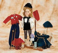 """14"""" Alexander Sonja Henie with three tagged outfits - 1930s"""