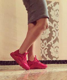 Red Nike huarache.