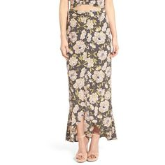 Women's Leith Flounce Floral Print Maxi Skirt (255 AED) ❤ liked on Polyvore featuring skirts, grey rabbit camillas, long grey skirt, gray maxi skirt, ruffle maxi skirt, long skirts and floor length skirts