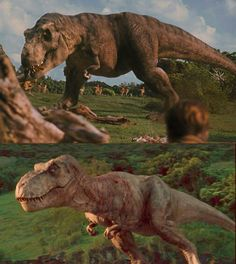 Rexy in Jurassic Park (top) and Jurassic World (bottom) T Rex Jurassic Park, Jurassic Park Trilogy, Jurassic Movies, Jurassic World 2015, Jurassic World Fallen Kingdom, Science Fiction, Godzilla, Jurrassic Park, Michael Crichton