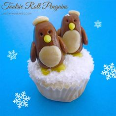 These cute little winter penguins are so easy to make and taste a lot better than fondant, because they are made out of 100% tootsie roll!...