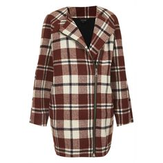TOPSHOP Collarless Check Wool Jacket (315 BAM) ❤ liked on Polyvore featuring outerwear, jackets, coats, coats & jackets, topshop and red