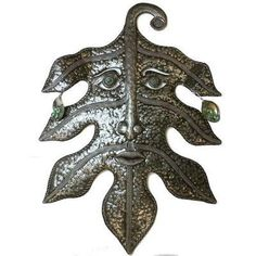 Recycled Steel Drum Art - Green Man Design - Croix des Bouquets from Latitudes Fair Trade - 99.95
