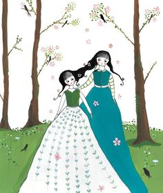 LilyMoon.  Drawings inspired by imaginary stories...  Woodland Sisters by LilyMoon on Etsy.