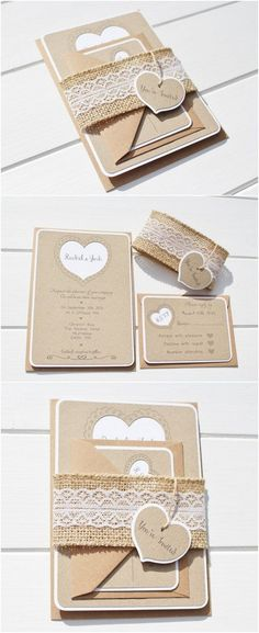 Rustic Wedding Invitation with a Lace and Burlap Belly band / http://www.deerpearlflowers.com/rustic-wedding-invitations-from-etsy/