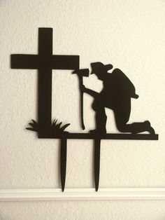Fireman Praying At The Cross CNC Plasma by Metalheadartdesign