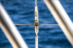 Tranquil tension. - Shot while sailing to Gabriel Island on my holidays here in Mauritius. Spotted this perfectly centered component of the catamaran's railing to my left backed by the beautiful, clear, deep blue of the ocean.