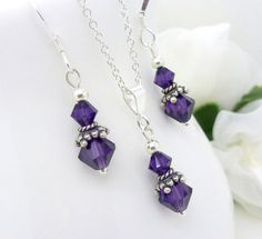 Purple bridesmaid jewelry set, Sterling silver, Dark violet purple, Bridesmaid Necklace Earrings set on Etsy, $35.00