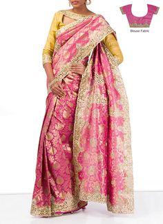 Gorgeous Pink Art Silk Saree