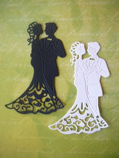 Bride and Groom Die Cut Embellishment for Scrapbooking, Card Making, Wedding, Table Decoration, Cupc Diy Wedding Favors, Wedding Cards, Bride And Groom Silhouette, Wedding Drawing, Paper Stars, Diy Craft Projects, Scrapbook Cards, Paper Cutting, Crafts To Make