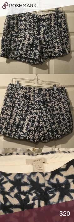 J Crew abstract patterned shorts Super cute never worn J Crew abstract patterned navy and ecru linen shorts size 6 J. Crew Shorts