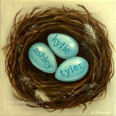 CUSTOM Mom's Nest Family Painting in OIL by LARA by studiolara316, $200.00