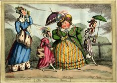 An imitation of BM Satires 14901; four women, not arm-in-arm, walk left to right: High Price, tall, fashionable, and haughty, looks through an eye-glass. Low Price, small, pert, fashionable but vulgar, looks up at the stout flamboyant Full Price who holds a parasol. Half Price, thin and sour, and clearly an old maid, also holds a parasol. Rails and trees suggest Hyde Park.  26 January 1825.  Hand-coloured etching