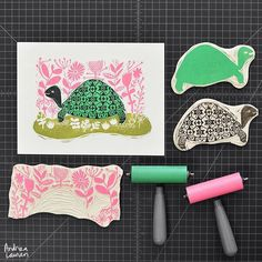 Enjoying the carving and printing of all these blocks to make this tortoise illustration come to life