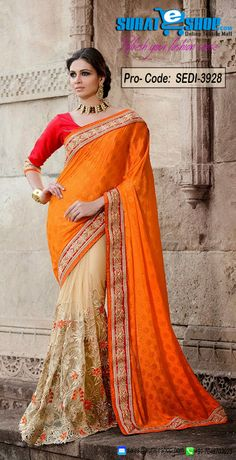 Fashion And Pattern Would Be On The Peak Of Your Attractiveness After You Attire This Buttercream & Orange Banarasi Silk, Net Saree. This Attractive Dress Is Displaying Some Astounding Embroidery Done With Lace, Resham, Stones Work. Paired With A Contrast Red Dupioni Raw Silk Blouse  Visit: http://surateshop.com/product-details.php?cid=2_26_66&pid=6126&mid=0
