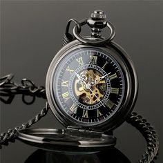 N690 2015 New Steampunk Skeleton Mechanical Black Open Face Retro Pendant Pocket Watch Gift High Quality