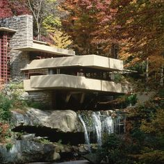 Fallingwater, Mill Run, PennsylvaniaFrank Lloyd WrightArchitect Frank Lloyd Wright (1867–1959) conceived this remote Allegheny Mountain getaway in 1935 for Pittsburgh department-store magnate Edgar J. Kaufmann Sr. and his wife, Liliane. Completed four years later and opened as a museum in 1964, the evocatively named Fallingwater is a dynamic three-story domestic sculpture, composed of intersecting sandstone, glass, and reinforced-concrete planes that spring out of a rock ledge and are graced…